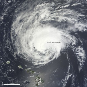 Hurricane Ignacio as seen by satellite on September 1, 2015. Though Hawaii is visible in this image, the storm was moving to the northwest, posing no threat to the islands. NASA satellite image.
